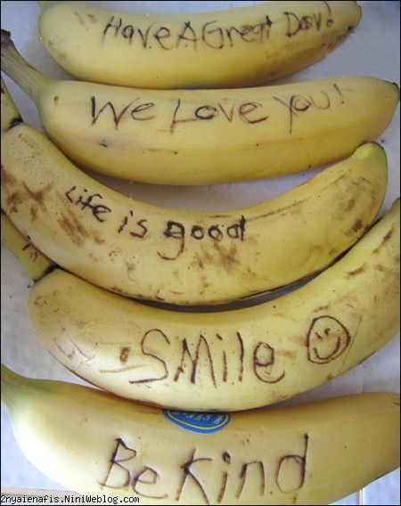Cute Food For Kids message on a banana Banana drawings How to draw a banana پیام تبریک روی موز!! - جهت میوه خور کردن کودک