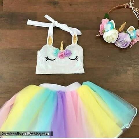 مدل لباس جشن تولد دخترانه با تم اسب تک شاخ دوخت یونیکورن ست تل  تاج اکسس.ری بیبی لاکچری پونی کوچولو اسب پرنده رنگین کمونی خرس کوچولو مهربان رنگین کمان