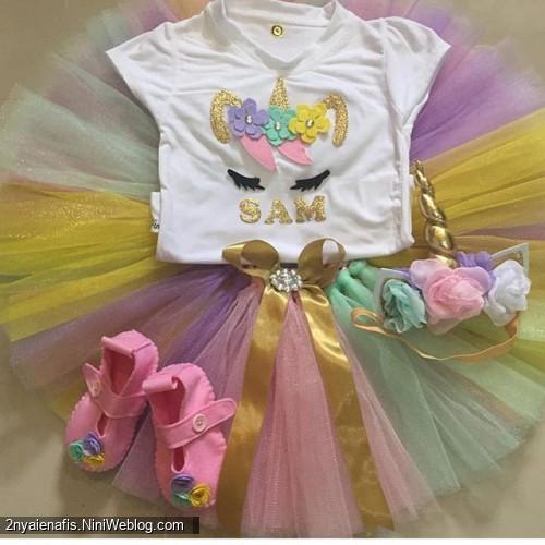 مدل لباس جشن تولد دخترانه با تم اسب تک شاخ دوخت یونیکورن ست تل  تاج اکسس.ری بیبی لاکچری
