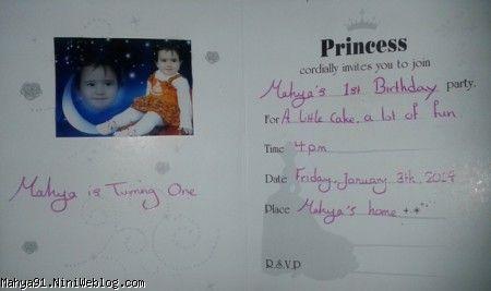 کارت دعوت تولد یکسالگی محیا