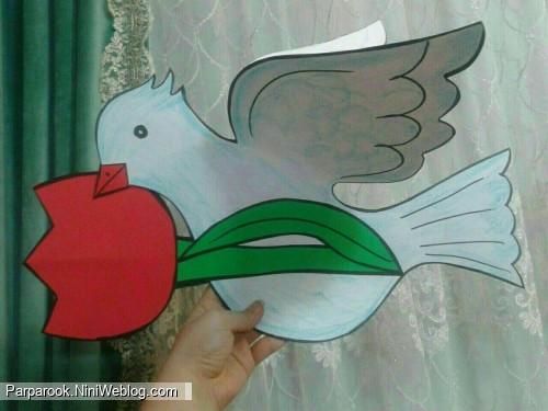 کاردستی کبوتر 22 بهمن