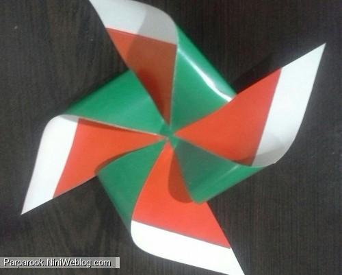 آموزش تصویری درست کردن پرچم ایران بصورت فرفره