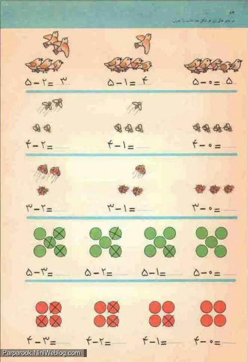 نمونه سوال ریاضی _ تفریق و جمع یک رقمی - فارسی اول دبستان